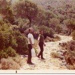 1973 with cousin Harilao Stratigakis on way to St John's cave, Akrotiri, Crete